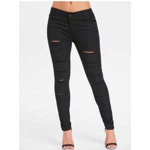 Pants - Black Distressed Skinny Jeans